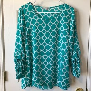 Moa Moa 3/4 Sleeve Sheer Blouse Size M